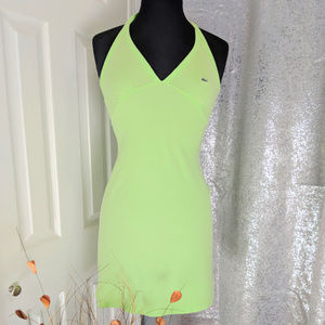 "LACOSTE Lime Green halter mini dress Sz 34 ""XS"""